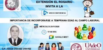Invitación a la videoconferencia: Importancia de incorporarse a temprana edad en el campo laboral